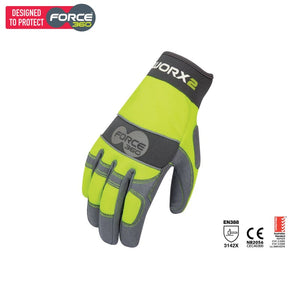 Force360 Worx 2 Original Hi-Vis Mechanics Glove Lime Safety Wear