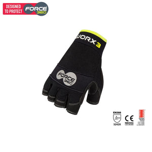 Force360 Worx 3 Original Mechanics Fingerless Glove Black Safety Wear