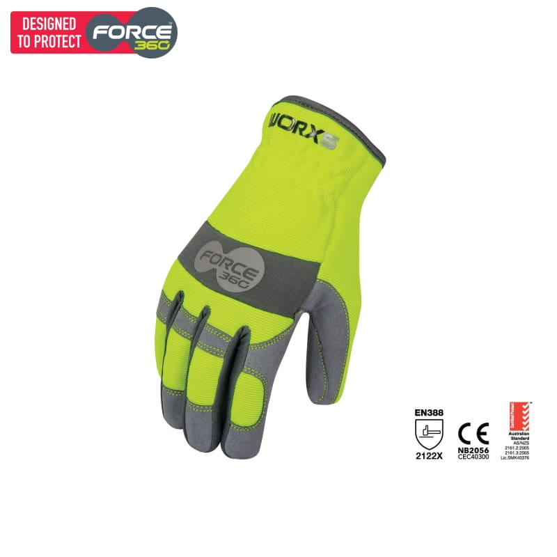 Force360 Worx 5 Original Fast Fit Mechanics Glove Lime Safety Wear