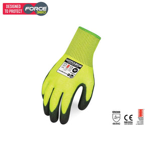 Force360 Worx Cut 5 Pu Hi Vis Glove Lime Safety Wear