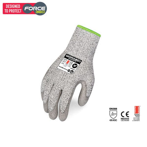 Force360 Worx Cut 5 Pu Sp Glove Grey Safety Wear