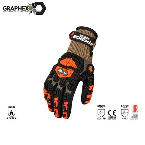 Graphex Armour Cut 5/level F Glove Black/orange Safety Wear