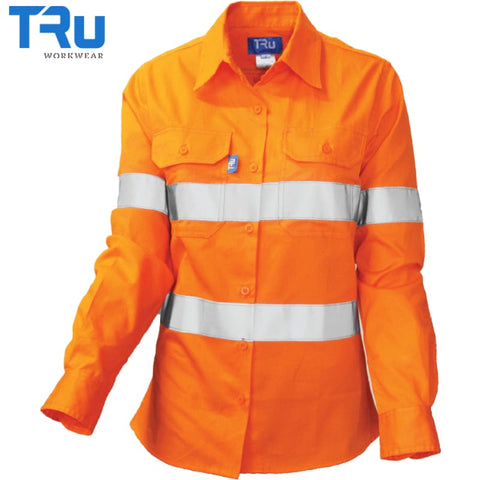 Ladies Light Weight Vented Shirt With 3M Tape 8 / Beyond Blue Orange Workwear