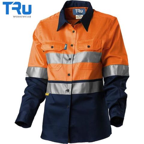 Ladies Light Weight Vertical Vented Shirt With 3M Tape 8 / Beyond Blue Orange Workwear