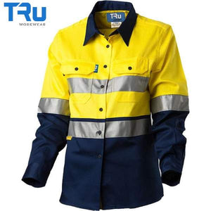 TRu Workwear - Ladies Shirt, Light Cotton Drill, 3M Tape, Horz Vents, Y/N