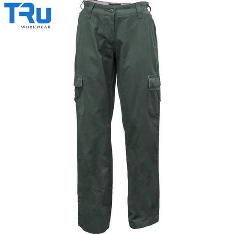TRu Workwear - Ladies Trouser, Cotton Canvas Cargo, Green