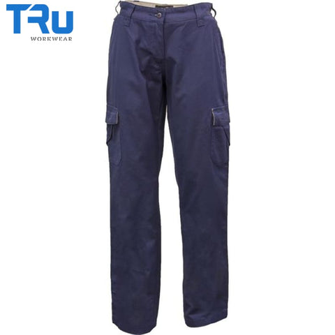 Ladies Mid Weight Cotton Canvas Cargo Pants 8 / Beyond Blue Navy Workwear