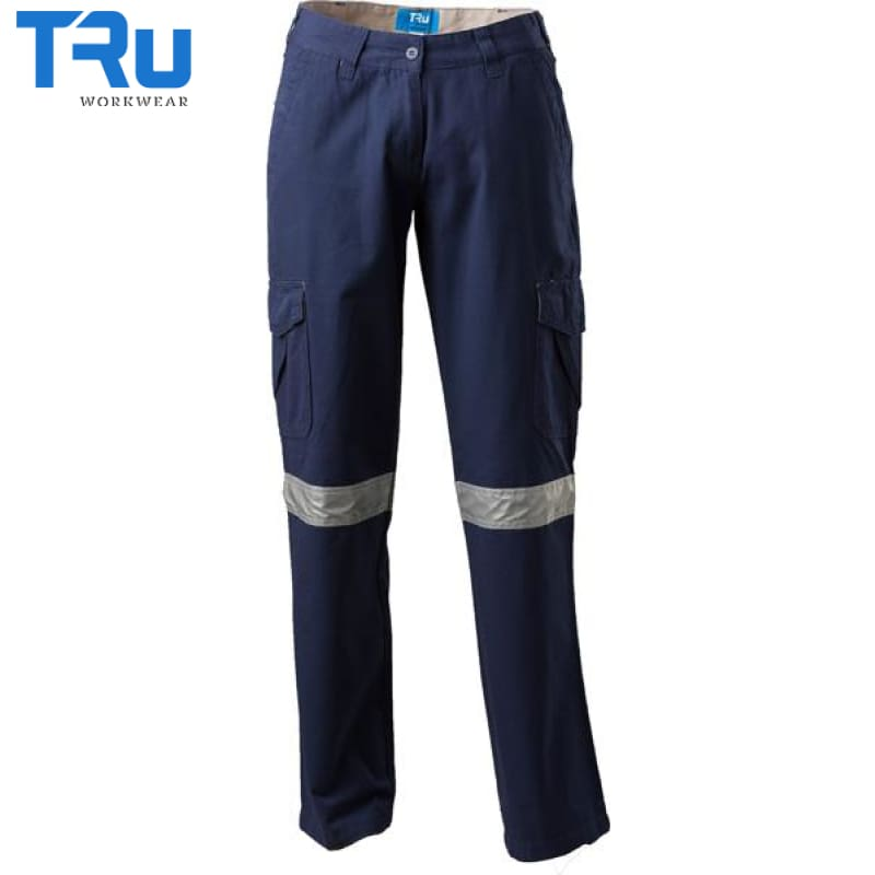 Ladies Mid Weight Cotton Canvas Cargo Pants With 3M Tape 8 / Beyond Blue Navy Workwear