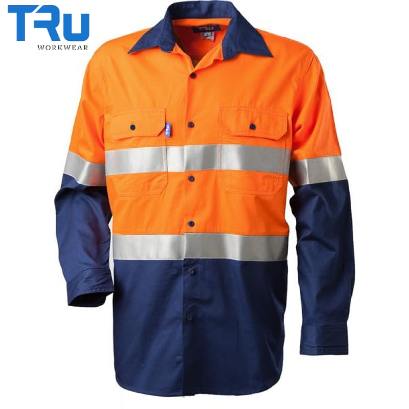 Lightweight Horizontal Vented Shirt With 3M Tape S / Beyond Blue Orange Workwear