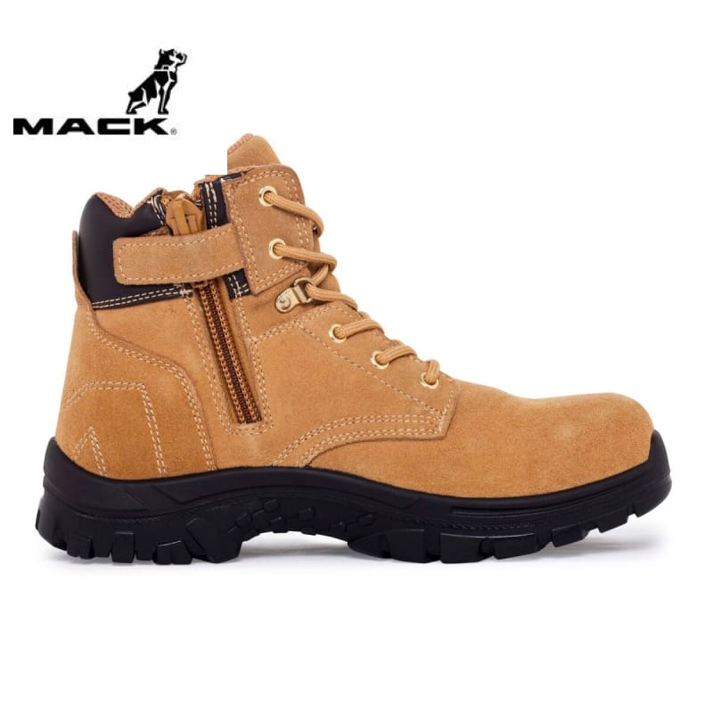 Mack Safety Boot Zip/lace Carpenter Honey Workwear