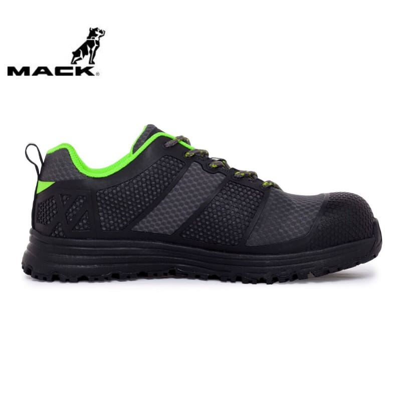 Mack Safety Shoe Pitch Black/grey/green Workwear