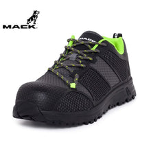 Load image into Gallery viewer, Mack Safety Shoe Pitch Black/grey/green Workwear