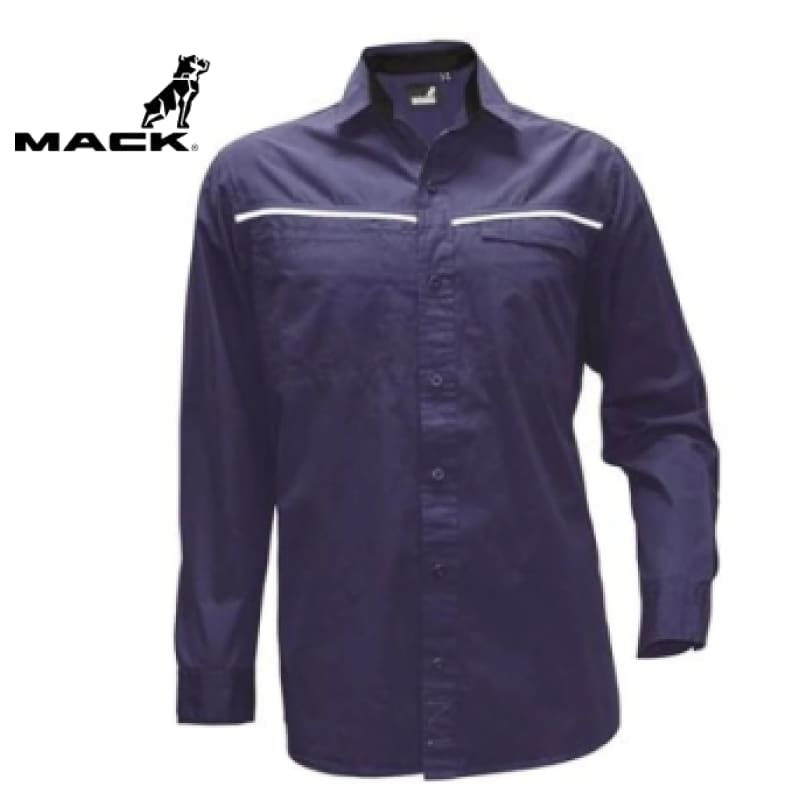 Mack Workwear Long Sleeve Rip Stop Shirt Navy
