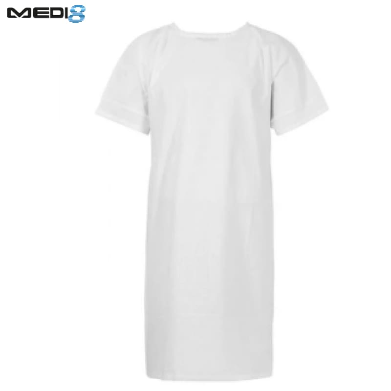 Medi-8 Patient Gown S/sleeve White Workwear