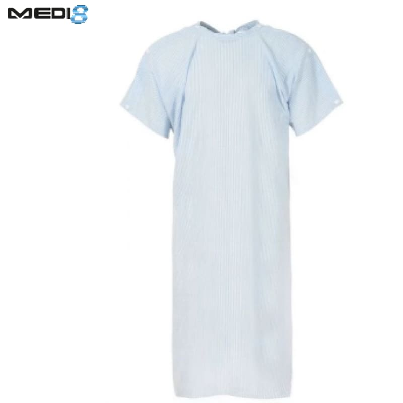 Medi-8 Seersucker Gown With Shoulders Studs Blue Workwear
