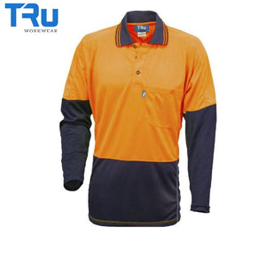 Micromesh Hi Vis Polo Long Sleeve Xs / Beyond Blue Orange Workwear