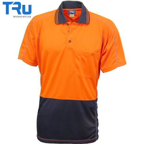 Micromesh Hi Vis Polo Short Sleeve Xs / Beyond Blue Orange Workwear