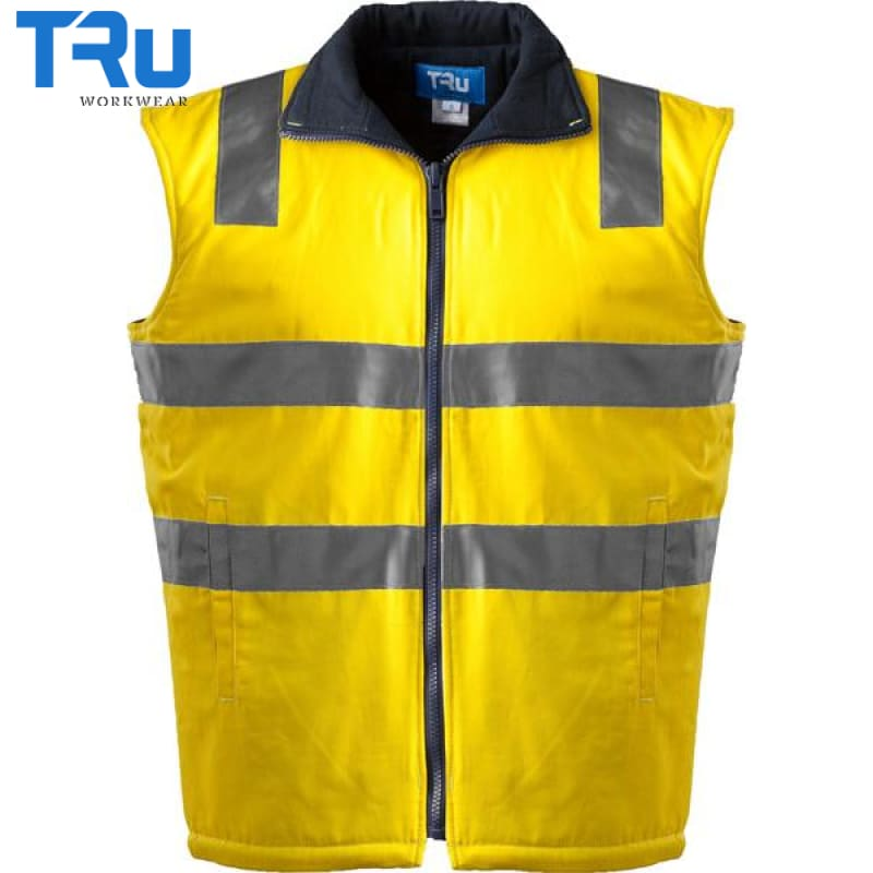 Mid Weight Cotton Canvas Vest With 3M Tape Xs / Beyond Blue Yellow Workwear
