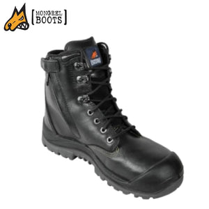 Mongrel R High Leg Safety Ankle Boot Zip Side Black Workwear