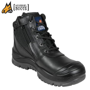 Mongrel Sc Safety Boot Zipsider Scuff Cap Black Workwear