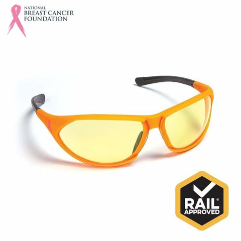 Nbcf Premium Safety Glasses Amber Lens Rail Spec Orange Wear