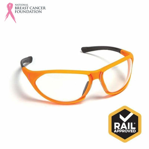 Nbcf Premium Safety Glasses Clear Lens Rail Spec Orange Wear