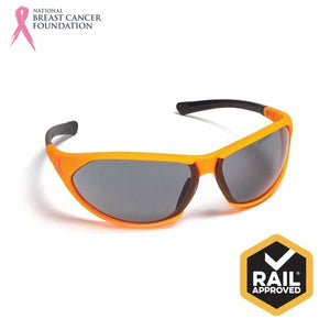 Nbcf Premium Safety Glasses Smoke Lens Rail Spec Orange Wear