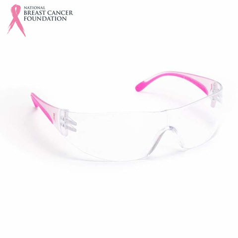 Nbcf Wrap-Around Safety Glasses Clear Lens / Pink Wear