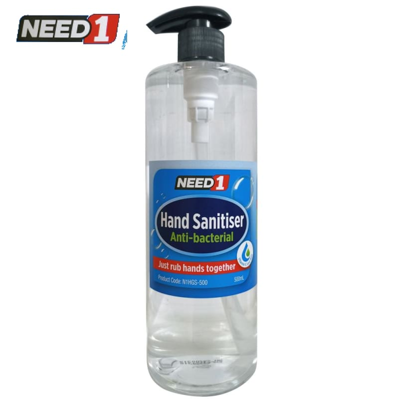 Need1 Anti-Bacterial Hand Sanitiser Gel - 500Ml Pump Bottle. (Min. Buy 24 Bottles)