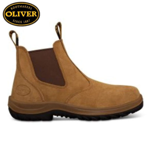 Oliver 34-624 Safety Boot Slip-On Beige Suede Footwear