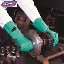 Load image into Gallery viewer, Pro-Val Chemical Glove Nitrile 33S - Flocklined Long Green (Ctn 12Pr X 12) Safety Wear