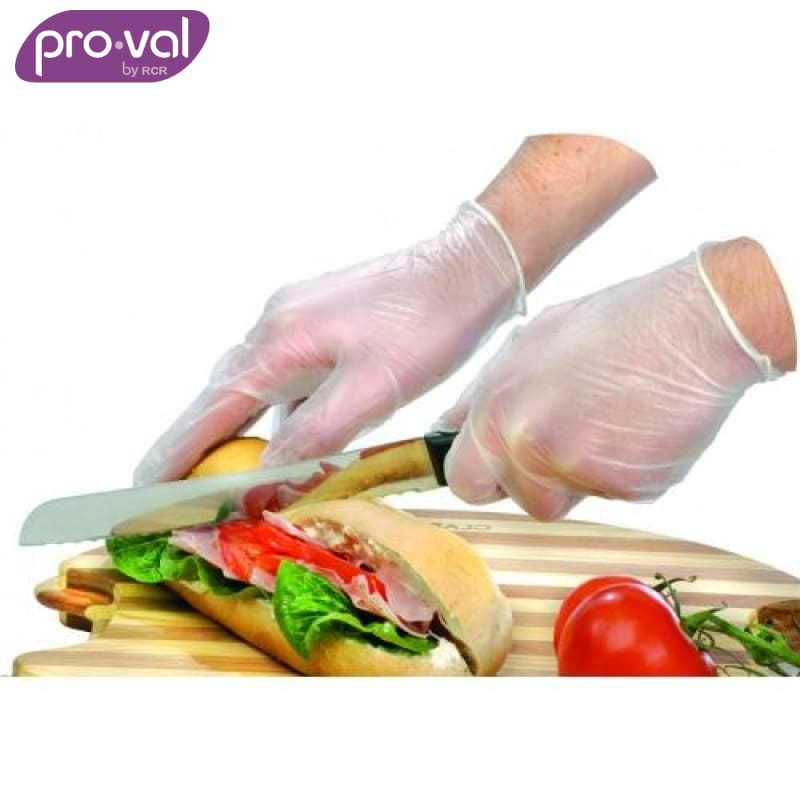 Pro-Val Disposable Glove All Clear Premium Vinyl Powdered (Ctn 100X10) Safety Wear