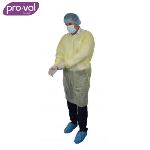 Pro-Val Disposable Isolation Gown Polyprop Yellow (Ctn 10X5) Safety Wear