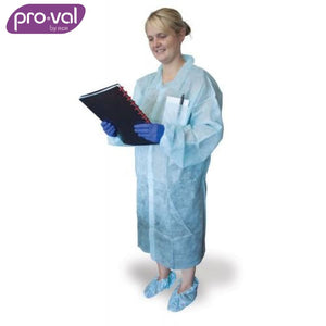 Pro-Val Disposable Lab Coat Polyprop Packet Blue X 50 Safety Wear