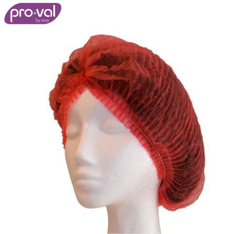 Pro-Val Hair Cap Crimped Beret Polyprop 21 Red (Ctn 100X10) Safety Wear
