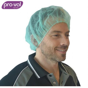 Pro-Val Hair Cap Round Bouffant Polyprop 21 Green (Ctn 100X10) Safety Wear