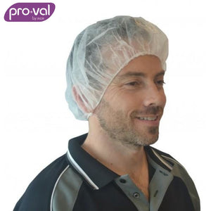 Pro-Val Hair Cap Round Bouffant Polyprop 21 White (Ctn 100X10) Safety Wear