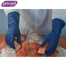 Load image into Gallery viewer, Pro-Val Rubber Glove Process Blues - Premium Bluelined Blue (Ctn 12Pr X 12) Safety Wear
