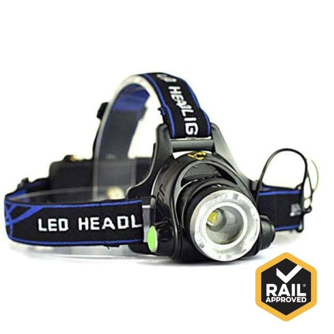 Rail Approved Led Headlamp Torch Kit 2 Battery Packs & Chargers Safety Wear