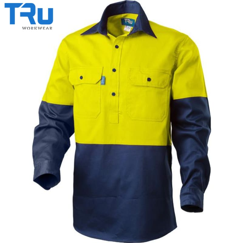 Regular Weight Closed Front Hi Vis Shirt S / Beyond Blue Yellow Workwear