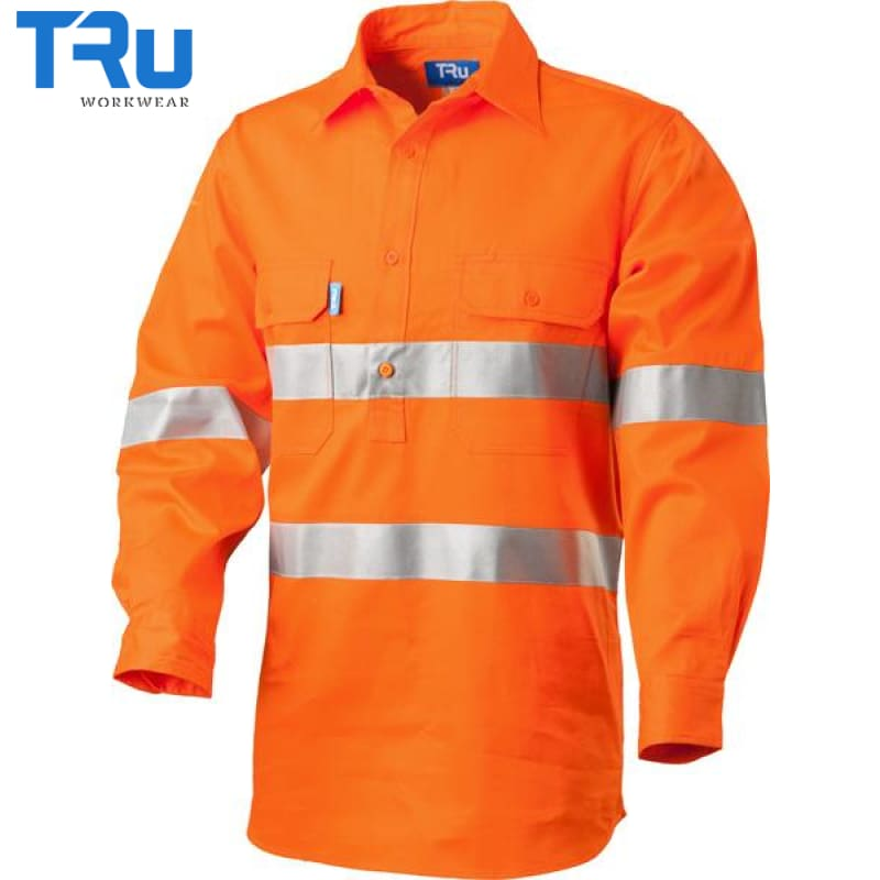 Regular Weight Closed Front Hi Vis Shirt With 3M Tape S / Beyond Blue Orange Workwear