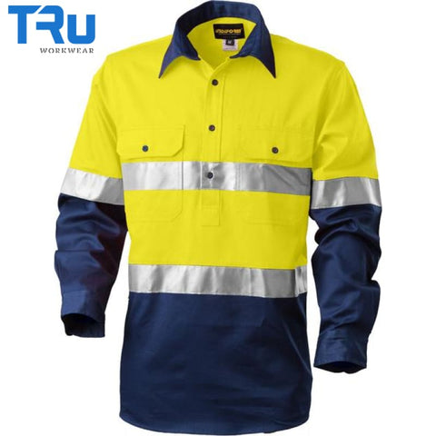Regular Weight Closed Front Hi Vis Shirt With 3M Tape S / Beyond Blue Yellow Workwear