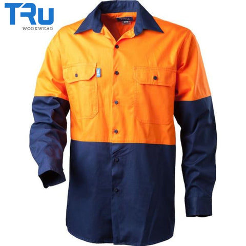 Regular Weight Hi Vis Drill Shirt S / Beyond Blue Orange Workwear