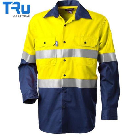 Tru Workwear - Shirt, Cotton Drill, 3M Tape, Y/N