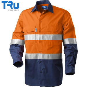 Rip Stop Cool Performance Hi Vis Shirt With 3M Tape S / Beyond Blue Orange Workwear