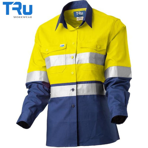 Rip Stop Ladies Cool Performance Hi Vis Shirt With 3M Tape 8 / Beyond Blue Yellow Workwear