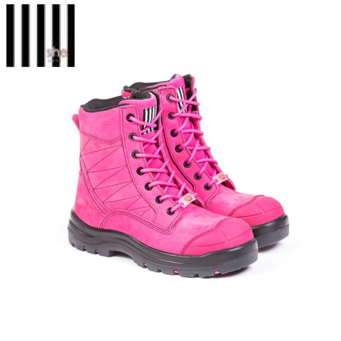 She Achieves Ladies Safety Boot Zip Lace-Up Pink
