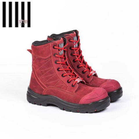 She Achieves Ladies Safety Boot Zip Lace-Up Red
