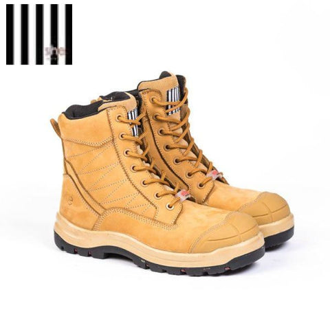 She Achieves Ladies Safety Boot Zip Lace-Up Wheat