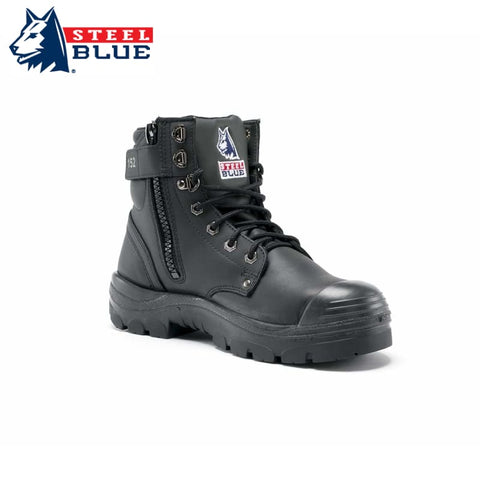 Steel Blue Safety Boot Argyle Zip Bump Toe Black Footwear